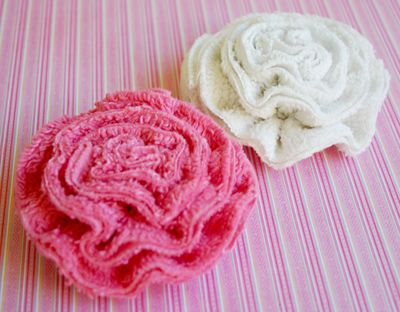 Pink White Chenille Flowers 1
