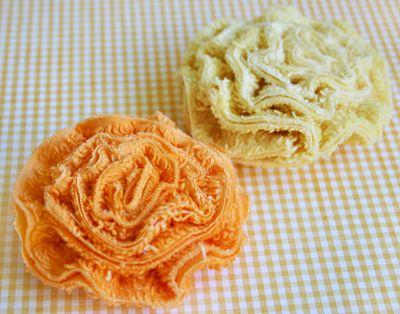 Orange Lemon Chenille Flowers 1
