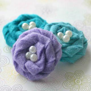 Felt Flowers purple teal aqua 1