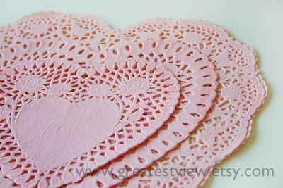 Pink Heart Doilies 1 w